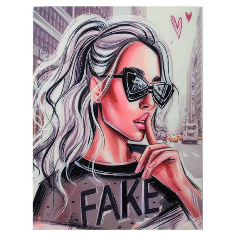 Нашивка 3D красивая девочка в очках FAKE 22х17см