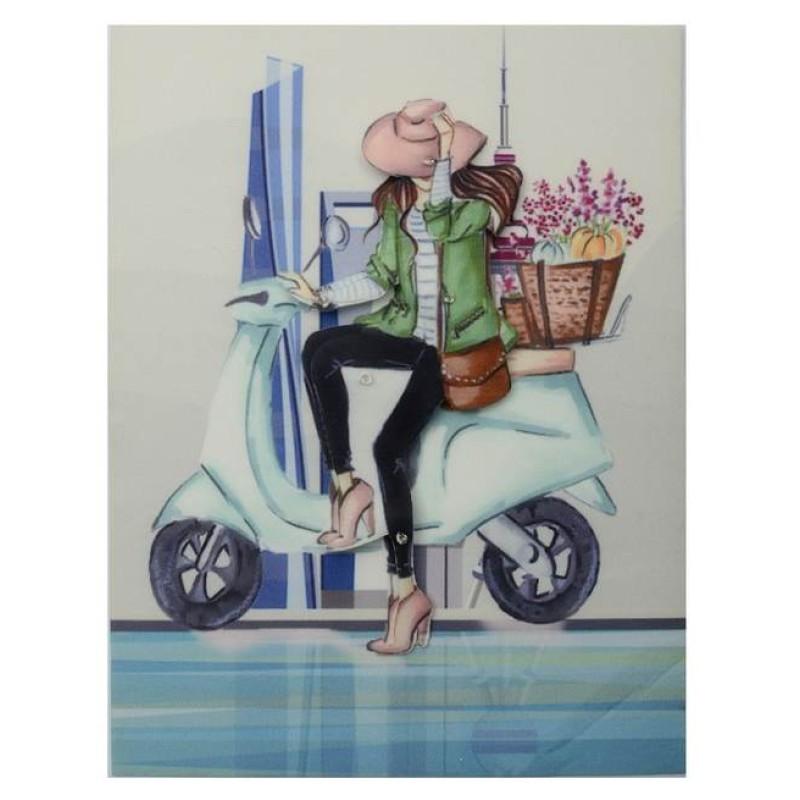 Нашивка 3D девушка на скутере с цветами  22х17см