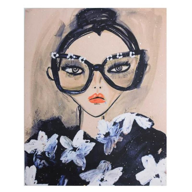 Нашивка 3D лицо женщины в очках 25х20см