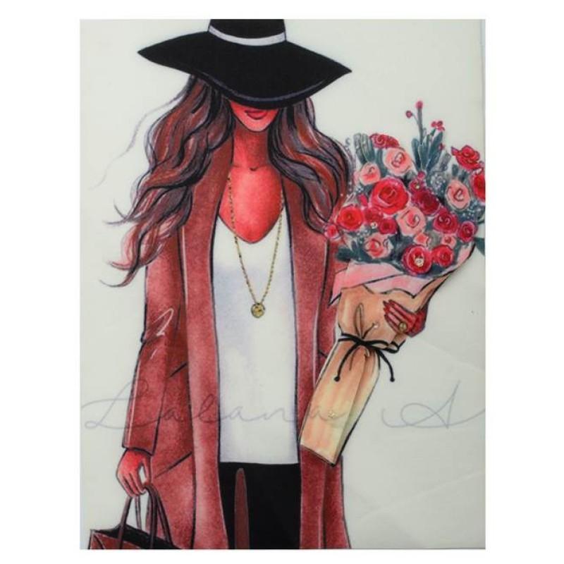 Нашивка 3D девушка в шляпе с цветами  22х17см