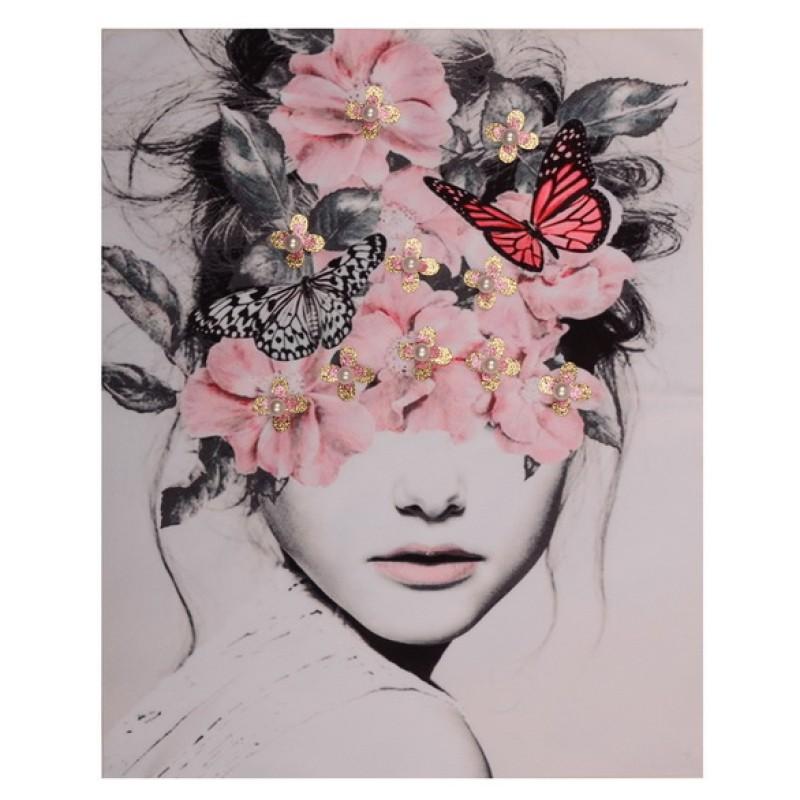 Нашивка 3D прическа с цветами 25,5х20см, цв: розовые цветочки
