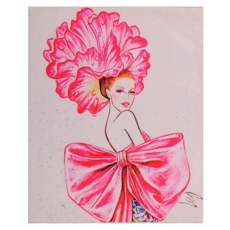 Нашивка девушка в платье с бантом, размер 25*20см