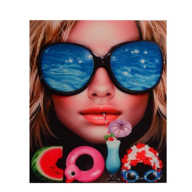 Нашивка 3D девушка в очках, размер: 22,5*19см