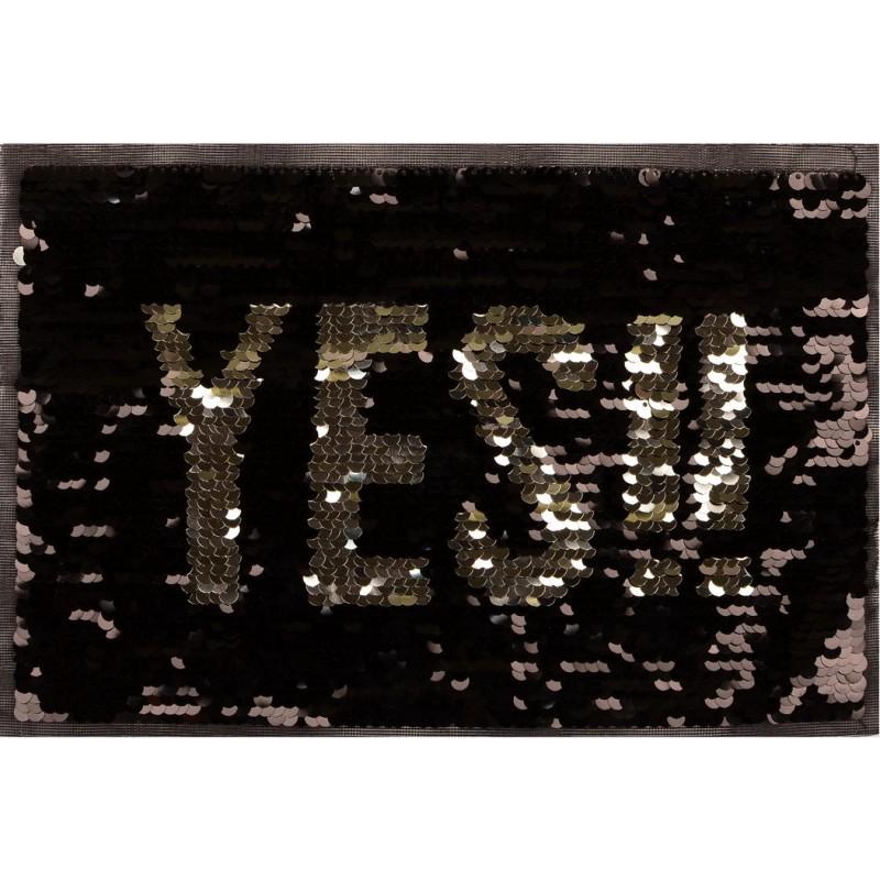 Нашивка YES пайетки двухсторонние 22,5*27см, цв: черный/серебряный