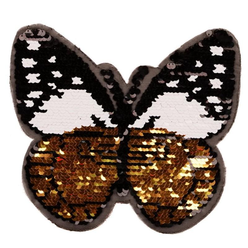 Нашивка бабочка 19*22см, цв: черный/золотой
