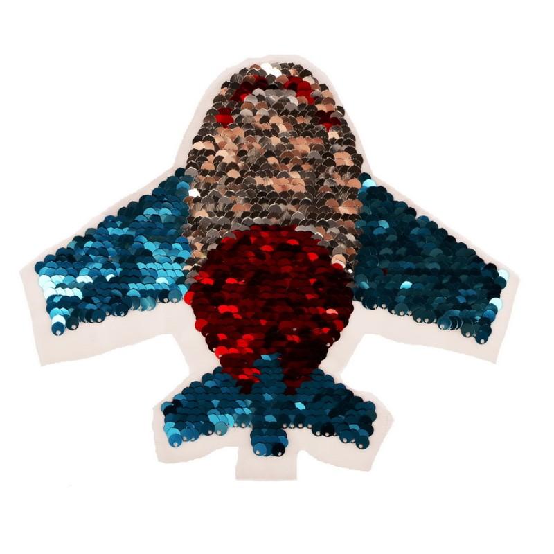 Нашивка самолет 17*20,5см, цв:красный/синий