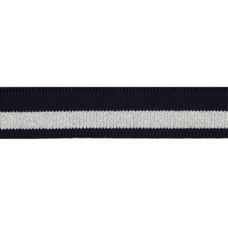 Подвяз полиэстер с люрекс 1*1, 2,5*100см, цв: темно-синий/серебр люрекс