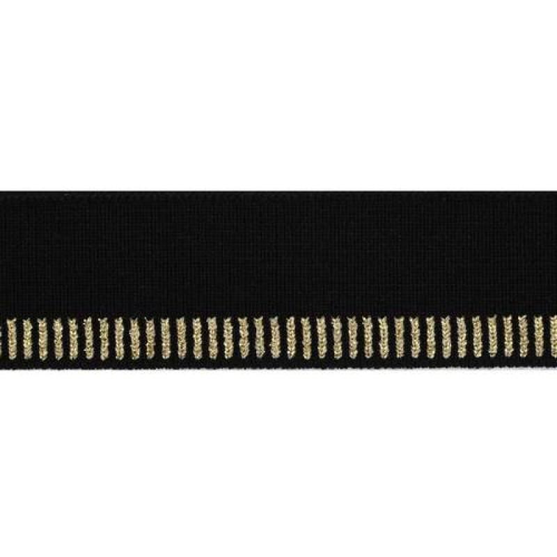 Подвяз акрил с люрекс 1*1, 3*100см, цв: черный/золот.люрекс