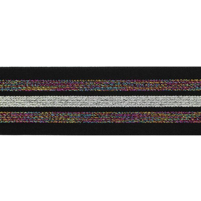 Резинка жаккард/люрекс 4см 45м/рулон, цв:черный/мультиколор