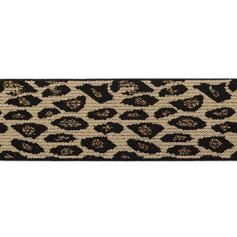 Резинка жаккард/люрекс 4см 45м/рулон, цв:леопард