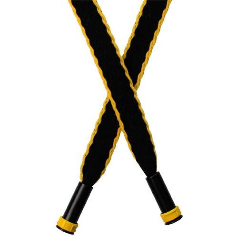 Шнур плоский нейлон  1*125см с наконечником, цв: черный