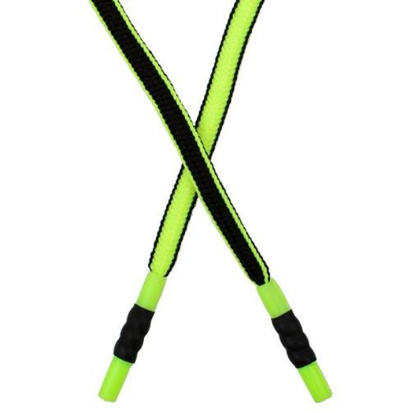 Шнур плоский нейлон 1*135см с наконечником, цв: черный/салатовый неон