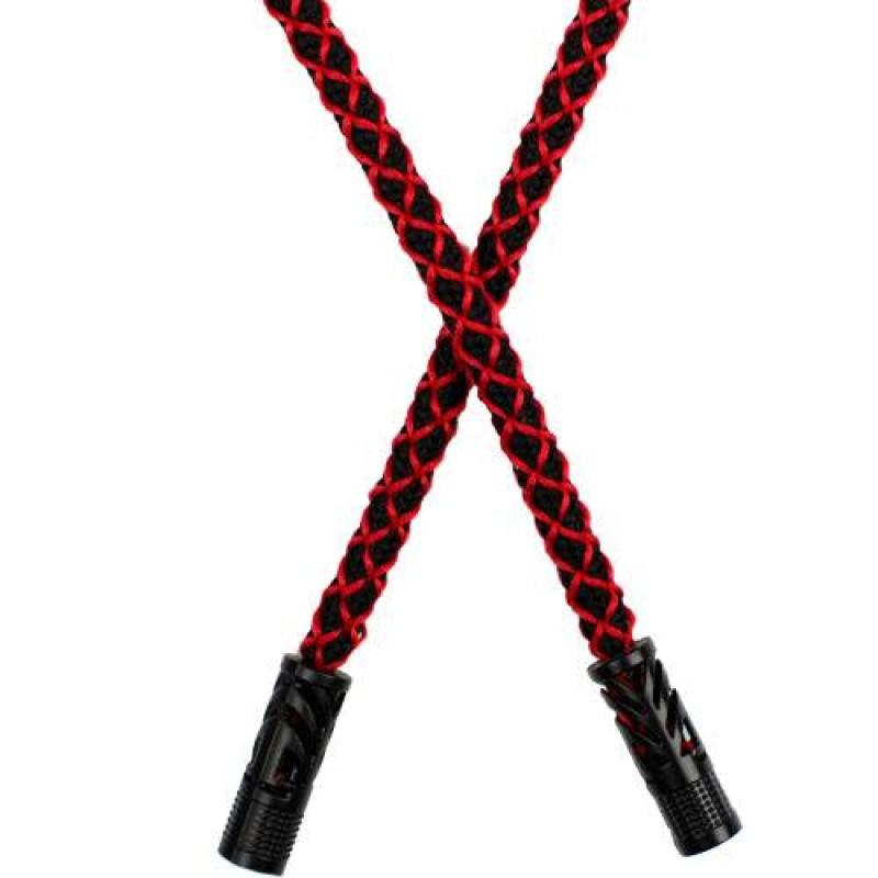 Шнур круглый полиэстер 1*130см с наконечником, цв: черный/красный