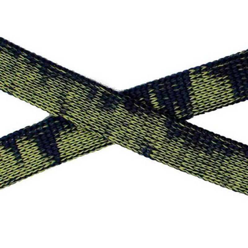 Шнур плоский п/э 1см 68-70м/рул, цв: зелёный/черный