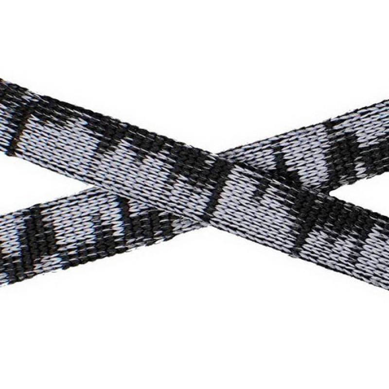 Шнур плоский п/э, 1см, 67-70м, цв: серый/черный