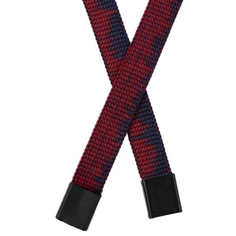 Шнур плоский полиэстер  1*130см с наконечником, цв: бордовый/черный