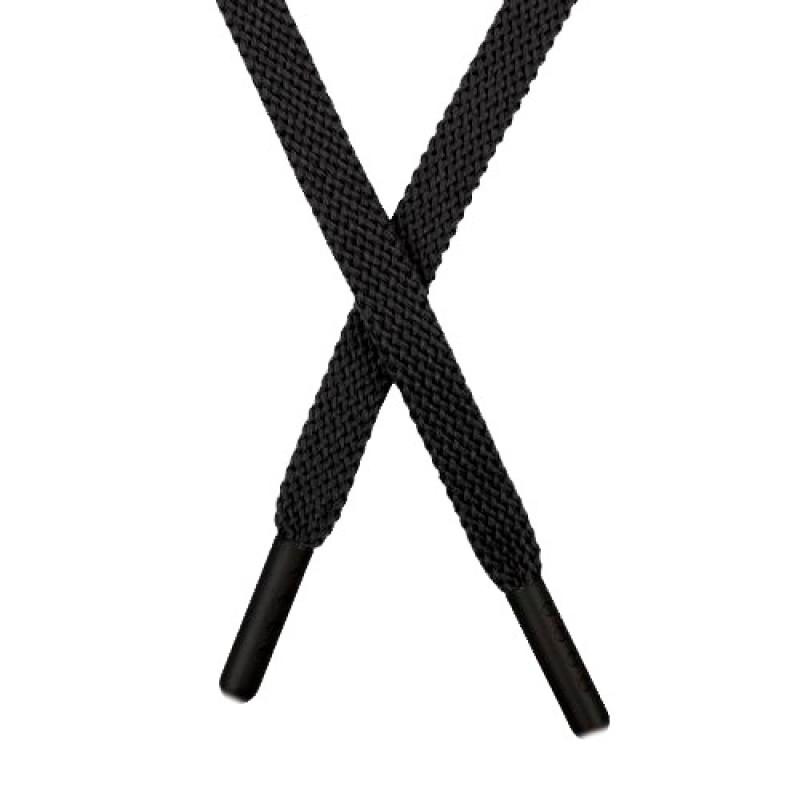 Шнур плоский хлопок 1 *145см с наконечником, цв: черный