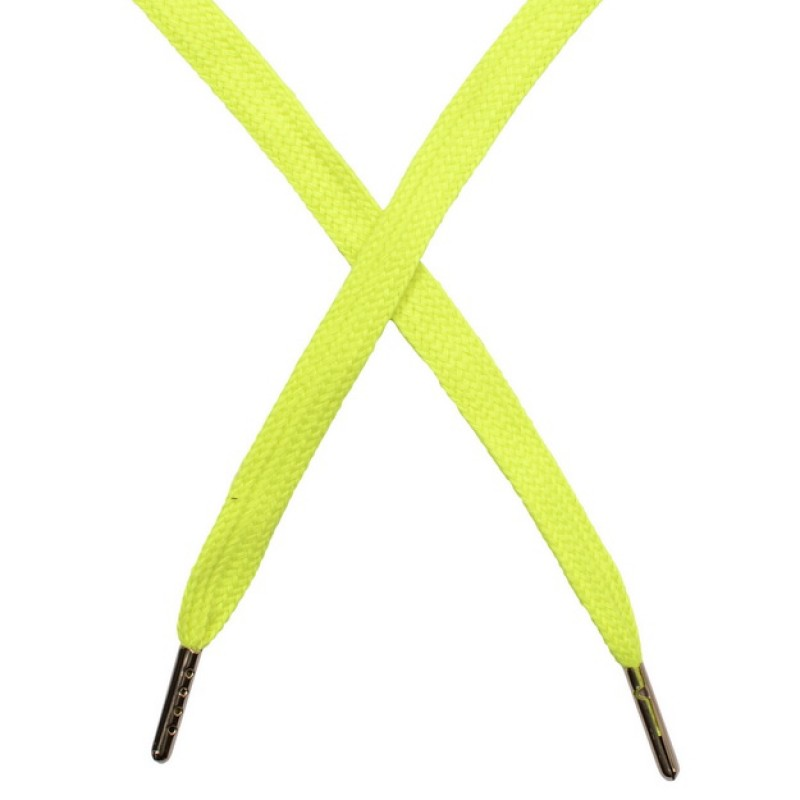 Шнур плоский чулок хлопок 1-1,2*120см с наконечником, цв: темно-лимонный неон