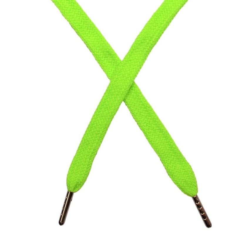 Шнур плоский чулок хлопок 1-1,2*120см с наконечником, цв: зеленый неон