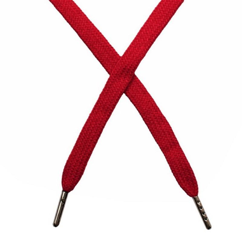 Шнур плоский чулок хлопок 1-1,2*120см с наконечником, цв: темно-красный