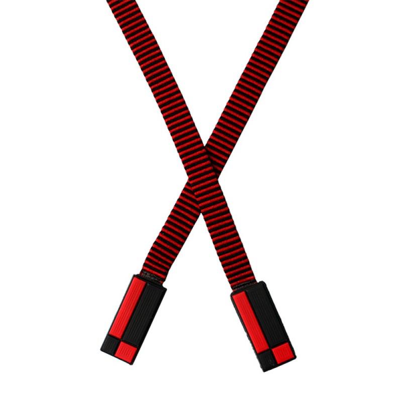 Шнур плоский п/э 1*146см с наконечником, цв: красный