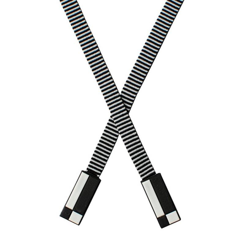 Шнур плоский п/э 1*146см с наконечником, цв: черный