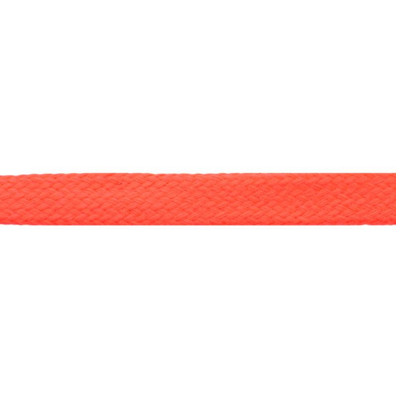 Шнур плоский хлопок чулок, 1,2см 68-70м/рулон, цв: оранжевый неон