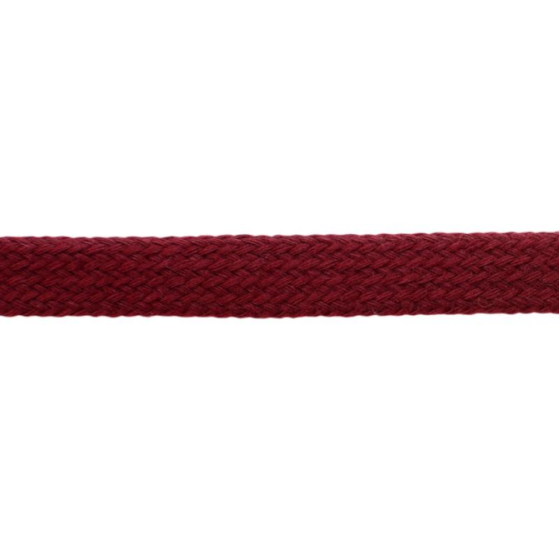 Шнур плоский хлопок чулок, 1,2см 68-70м/рулон, цв: бордовый