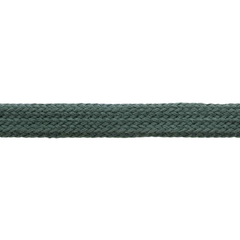 Шнур плоский хлопок чулок, 1,2см 68-70м/рулон, цв: темно-изумрудный