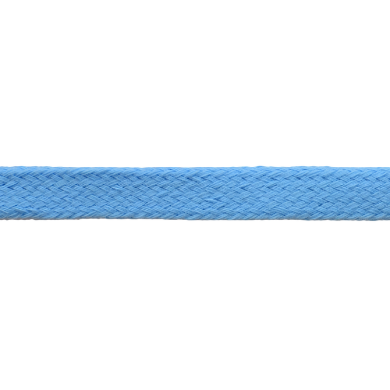 Шнур плоский хлопок чулок, 1,2см 68-70м/рулон, цв: небесный