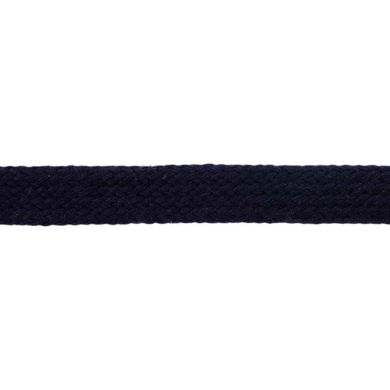 Шнур плоский хлопок чулок, 1,2см 68-70м/рулон, цв: темно-синий