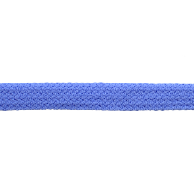 Шнур плоский хлопок чулок, 1,2см 68-70м/рулон, цв: голубой