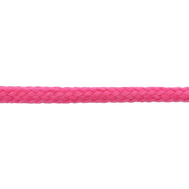 Шнур круглый без сердечника хлопок 0,5см 68-70м/рулон, цв: темно-розовый