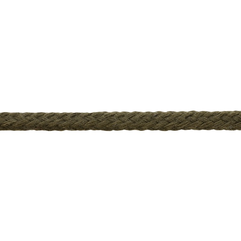 Шнур круглый без сердечника хлопок 0,5см 68-70м/рулон, цв: темный хаки