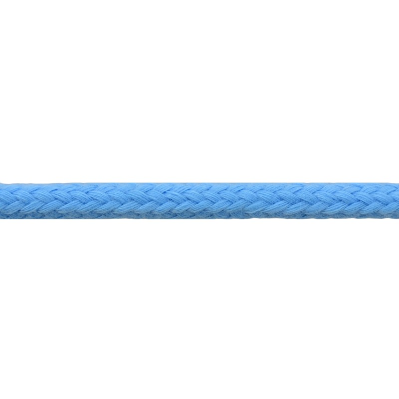 Шнур круглый без сердечника хлопок 0,5см 68-70м/рулон, цв: небесный