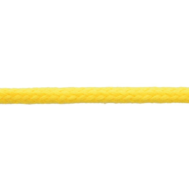 Шнур круглый без сердечника хлопок 0,5см 68-70м/рулон, цв: желтый
