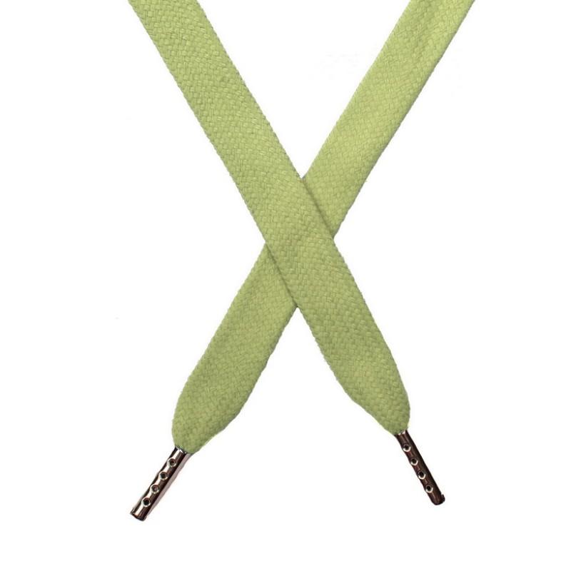 Шнур плоский хлопок 1,5*140см с наконечником, цв:зеленый чай