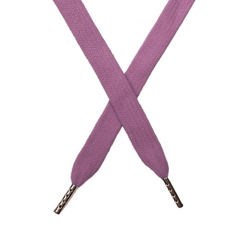 Шнур плоский хлопок 1,5*140см с наконечником, цв:дымчато-розовый