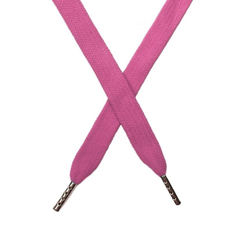 Шнур плоский хлопок 1,5*140см с наконечником, цв:розовый