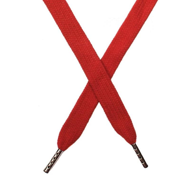 Шнур плоский хлопок 1,5*140см с наконечником, цв:оранжево-красный