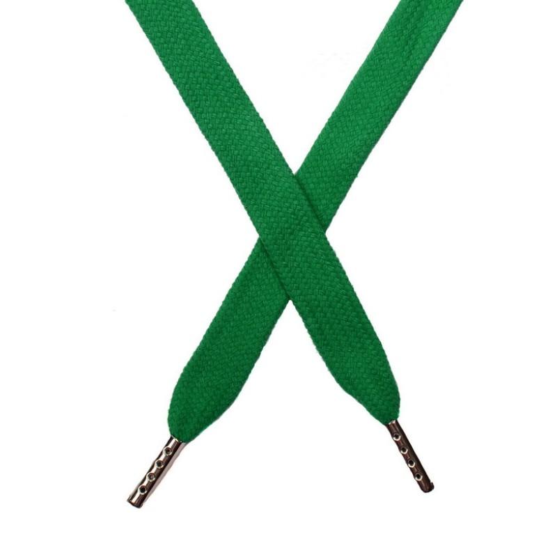 Шнур плоский хлопок 1,5*140см с наконечником, цв:морская зелень