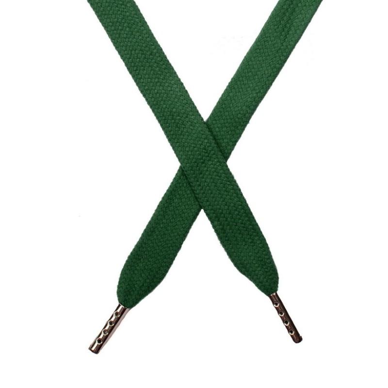 Шнур плоский хлопок 1,5*140см с наконечником, цв:сосновая зелень