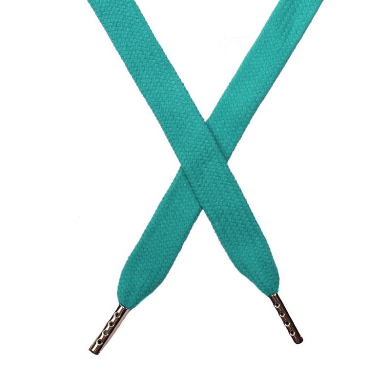 Шнур плоский хлопок 1,5*140см с наконечником, цв:св.бирюзовый
