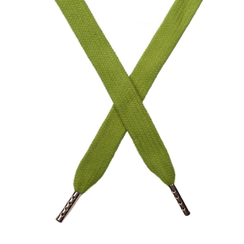 Шнур плоский хлопок 1,5*140см с наконечником, цв:фисташковый