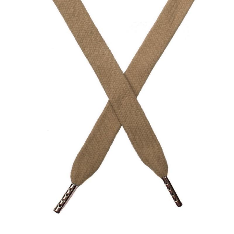 Шнур плоский хлопок 1,5*140см с наконечником, цв:песочный