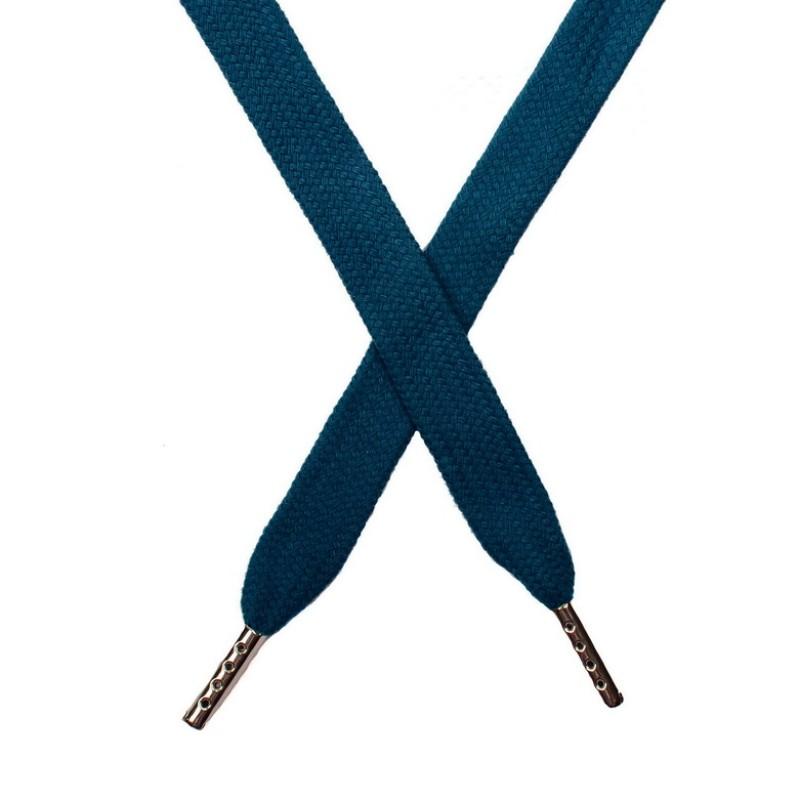 Шнур плоский хлопок 1,5*140см с наконечником, цв:сине-зеленый