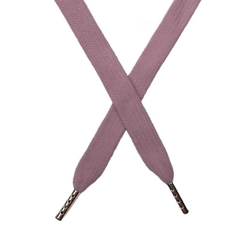 Шнур плоский хлопок 1,5*140см с наконечником, цв:пастельно-розовый