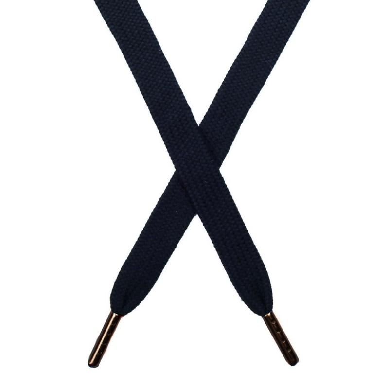 Шнур плоский хлопок 1,5*140см с наконечником, цв:чернильно-синий