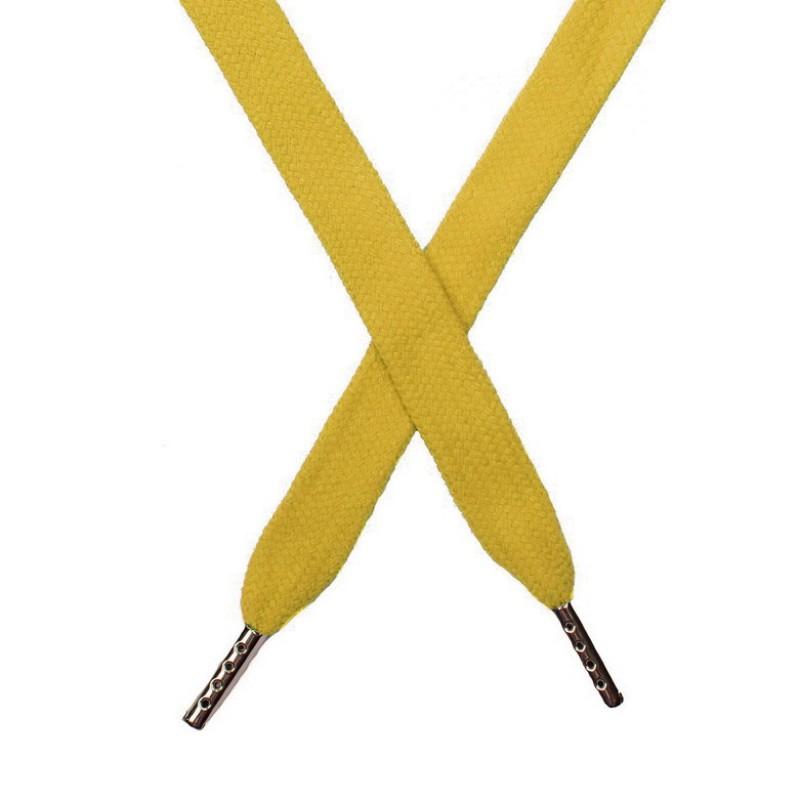 Шнур плоский хлопок 1,5*140см с наконечником, цв:золотой