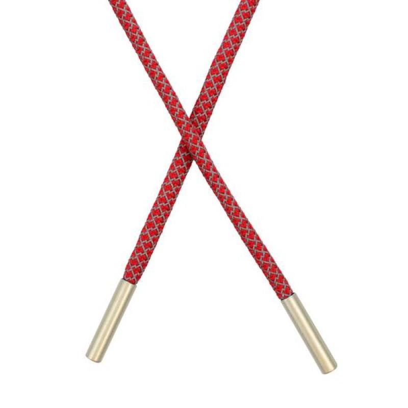 Шнур круглый п/э светоотражающий 0,5*120см с наконечником, цв: красный